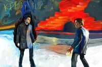 Painting prophecy Peter and Sylar at Kirby Plaza.jpg